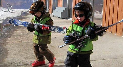Kids Carrying Skis